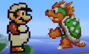 Minecraft Mario vs. Bowser by exit1