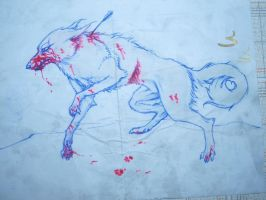 Bloody Wolf - Traditional Sketch by SusuSketches