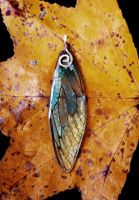 Cicada wing pendant - teal and gold by ceruleanvii
