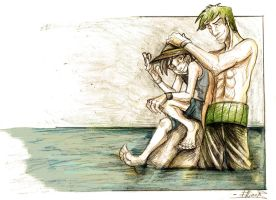 Zoro and Luffy by Ellinor87