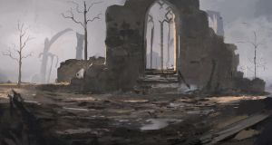 church ruin from the front by Kalberoos