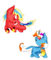 custom 44 Amaber X Flamedramon foals by Yoshi123pegasister