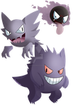 Gastly Evolutions by AngelicNeonAnime