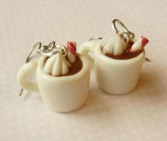 hot chocolate earrings - polymer clay by ScrumptiousDoodle