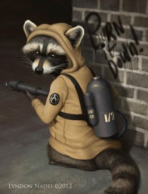 Raccoon Anarchist - Burn Baby Burn by squiffel