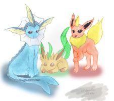 Eeveelution starters color by NoaQep