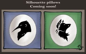 Custom Silhouette pillows by Key-Feathers