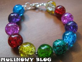 Rainbow bracelet with different separators by Panna-Kot