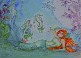 Of Seahorses and Mermaids  in watercolor by SeaSpryte