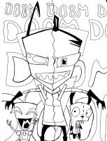 Dual Zim line art by dragonfire1000