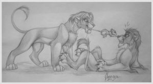 Mufasa and Taka by OmegaLioness