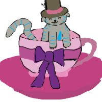 Chesire cat in a teacup with the madhatters hat by whenwolveshowl