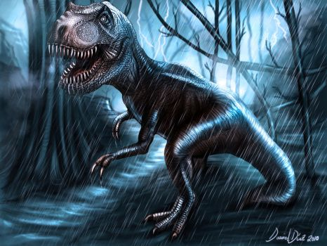T-Rex in the storm by danimix1983