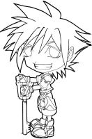 Chibi Sora: KH2 - lineart by NightmareSherbert
