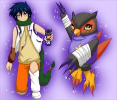 Noguchi Ikuto and Falcomon by Yuunic