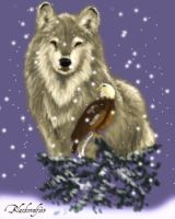 Wolf and eagle under the snow by blackwolf153