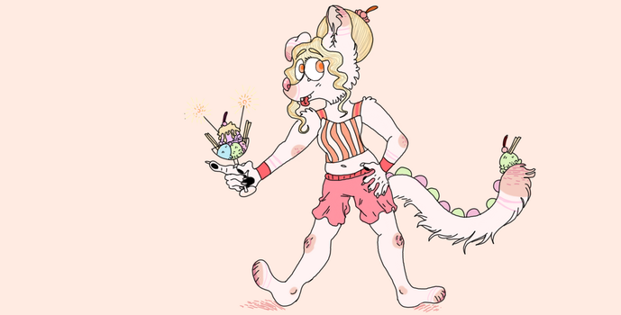 Icecream cat-dog (ADOPT: 30 points) by TacoFoxArt
