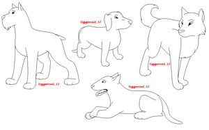 dog lineart set by tiggercat12