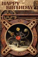 Steampunk Happy Birthday Card by CatherinetteRings