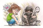 Chibi of me catching a ninja by elvaniel
