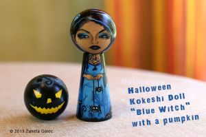 Halloween Kokeshi Doll 'Blue Witch' by ZanetaGc