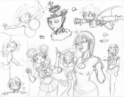 A page of Random Sketches by CrazyCowProductions