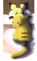 Pichu and Momma Pikachu 6711 by WeisseEdelweiss