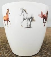 Flower Pots white horse,  horses series by naraosart