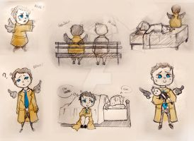 Castiel Sketches by MrsSandy
