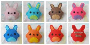 Bunny Brooches by ChibiWorks