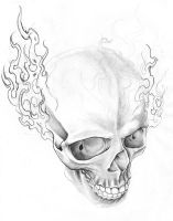 fire skull sketch by DookiePants