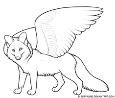 Free Winged Fox Line Art by Servaline