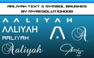 Aaliyah Text Symbol Brush Set by myresolution008