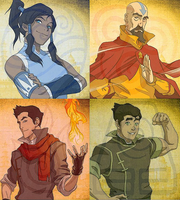 Legend of Korra Four Elements Wallpaper by LadyElasa
