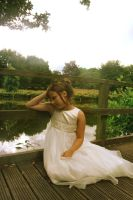 LITTLE GIRL BY THE POND by L-A-Addams-Art
