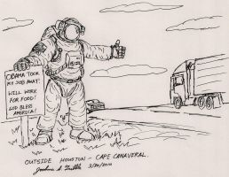 Astronaut Hitchhiking by Tribble-Industries