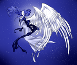 (Heaven Coloring Contest): Moonlit Angel by Xovinx