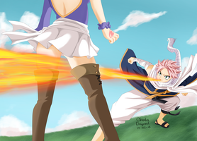 Natsu and Lucy by claudiadragneel