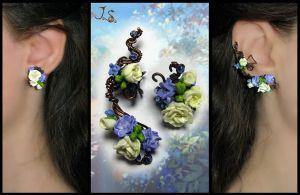 Ear cuff and stud Morning freshness by JSjewelry