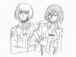 SnK:Armin and Mikasa by sylwia1098