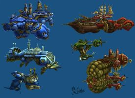 Concept aircrafts, submarine and airships (w.i.p) by YanQuelais