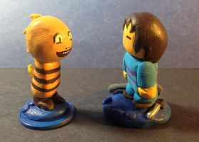 Lion Sculpts: Undertale Monster Kid and You by Lion-Oh-Day