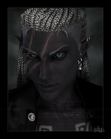 Portrait Of A Dark Elf by Mavrosh