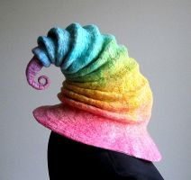 Pastel Winter Rainbow Wizard/Witch Hat by HandiCraftKate