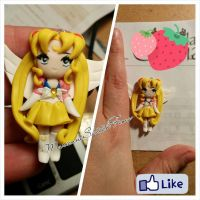 Sailor Moon Pendant Polymer Clay Chibi Version by DarkettinaMarienne