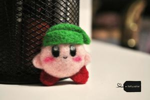 needle felted kirby link (forsale) by FluffyParcel