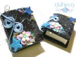 Whimsical Blue Books earrings by colourful-blossom