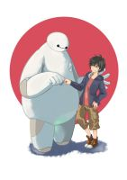 BAYMAX and HIRO by luftcraft