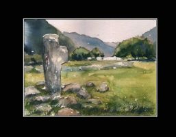 Old cross from Glendalough by sanderus