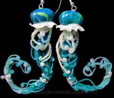 Aqua green jellyfish earrings by carmendee